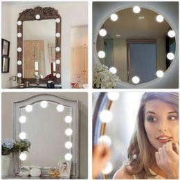 Argentina 10 bombillas Vanity LED Luces de espejo de maquillaje Bombilla regulable Tonos cálidos / fríos Espejo de vestir Kit de bombillas LED decorativas Accesorio de maquillaje Drop ship 1 Suministro