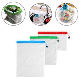 Tessuto disegnato online-12 pz / set tessuto in maglia di poliestere giuntura di verdura e frutta borse articoli vari raccolta borse a rete ripetibile corda-disegno borse in rete T3I5071