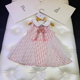 Vestido da menina Primavera / outono e inverno moda crianças roupas de grife carta vestido de colete vestido de poliéster vestido de festa vestidos de