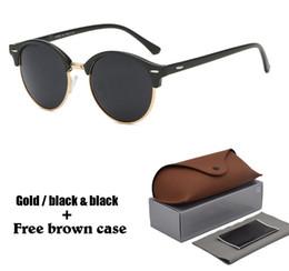 2019 espejo redondo enmarcado Moda gafas de sol redondas para hombre para mujer Diseñador de marca original Gafas de sol mujeres hombres Marco de cuadro Flash Mirror UV400 Lente con estuche espejo redondo enmarcado baratos