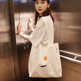 2019 koreanische stickentasche Hazy Beauty Solid Color Eco Einkaufstasche Weiß faltbare Weibliche Leinwand Tuch Tote koreanische Art-Stickerei-Crossbody-Buch-Tasche Mädchen rabatt koreanische stickentasche