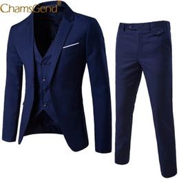 Piezas de esmoquin masculino diseños online-Nuevo diseño de 3 piezas de hombres Blazer Suit Set hombre hombre Tuxedo Trouses pantalones hombres Slim Fit trajes formales para el banquete de boda 81101 Q190428