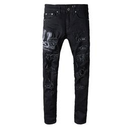 boot cut trouser black men Coupons - New Italy Style #560# Men's Snake Embroidery Distressed Patches Leather Sneak Pants Skinny Black Jeans Slim Trousers Size 29-40
