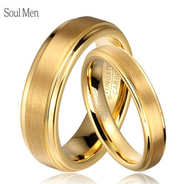 ce98110e2d160 Soul Men 1 Pair Gold Color Tungsten Carbide Wedding Band Rings Set For Him  And Her 6mm For Men 4mm For Women Brushed Finish J190718