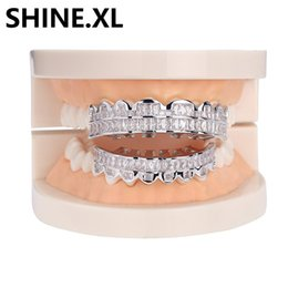 grill cap Coupons - Hip Hop Iced Out Zircon Custom Fit Gold Teeth Grillz Caps Micro Pave Cubic Zirconia Top & Bottom Grills Set for Christmas Gift Women