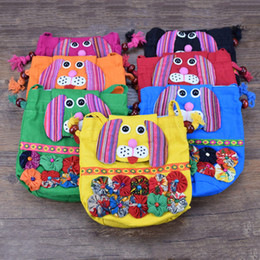 fabric baby owls Coupons - Chinese Ethnic Character Cloth Handmade Preschool Baby owl Elephant monkey Dog Colorful Stitch kids Shoulder Bag C2872