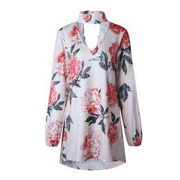 Куртки с ожерельем онлайн-Новая мода, личность, мода, темперамент, цветок печати ожерелье, свободная шея, футболка с длинным рукавом куртка 0532