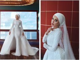 2019 Zuhair Murad sirena musulmán de manga larga vestido de novia de lujo de la vendimia lleno de perlas vestido de novia vestido de novia de la boda personalizada vestido de novia desde fabricantes