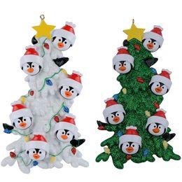 Grüne harzhand online-Harz-Pinguin-Familie von 6 weißen grünen Baum-Weihnachtsverzierungen mit als personifizierte Geschenk-Feiertags-Hauptdekor-handgemaltes Andenken