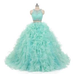 2020 Mint Verde Quinceanera duas peças curtas Prom Dresses com destacável Train Lace Vestido de Festa Baile Vestidos de