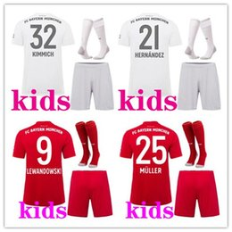 Mejores uniformes online-niños 2019 2020 kits de fútbol Camiseta de fútbol Bayern Munich casa 19 20 maillots de footbal Camiseta de fútbol LEWANDOWSKI MULLER Niños kits de footbal