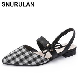 fc30d73063d0 SNURULAN2018 Sweet Women Closed Toe Checkered Low Heel Sandals Plus Size  Flock plaid Pointy Flat Sandal Pink ShoeSandalias Mujer