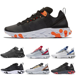 gold elements Promo Codes - React Element 55 87 men women running shoes Triple black Metallic Gold Hyper Fusion Blue Chill mens women trainer sports sneakers