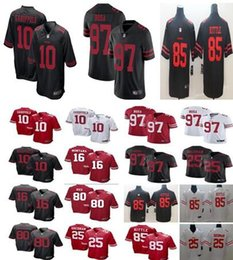 Camiseta de fútbol joe montana online-Camiseta de San Francisco 49ers 10 Jimmy Garoppolo 85 George Kittle 16 Joe Montana 25 Sherman 97 Nick Bosa 80 camiseta de arroz para hombres.