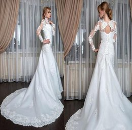 vintage fishtail wedding dresses Coupons - 2019 Gorgeous Lace Mermaid Wedding Dresses Dubai African Arabic Style Petite Long Sleeves Fishtail Custom Made Bridal Gowns with lace up
