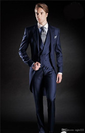 2021 marine anzugsstile New Slim Fit Morning Style Groom Tuxedos Peak Lapel Men's Suit Navy Blue Groomsman Best Man Wedding Prom Suits(Jacket+Pants+Tie+Vest) 1 günstig marine anzugsstile