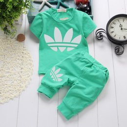 2019 Baby Boy Girls Clothes Set Summer Sports Clothes Set Infant Clothing  Short Sleeved T-shirts Tops Pants Kids Bebes Jogging Sports Suits 419b5a577