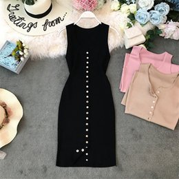 casual short sundresses Coupons - Fashion Button Up Ladies Slim Summer Bodycon Knit Mini Short Dress Women Casual Party Dresses Sheath Tank Sundress Club Vestidos