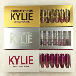 Caja de edición kylie online-Hot Kylie Jenner Cosméticos Barra de labios mate Liquid Mini Kit de labios cumpleaños edición limitada con los 6pcs caja de oro / set 3set brillo de labios