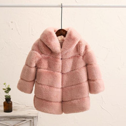 Мех кролика девочек онлайн-2-8 year Children's Faux Fur Coat Imitation Rex  Fur Girls Thicker kids Clothing Baby Winter warm Hooded Overcoat Y13