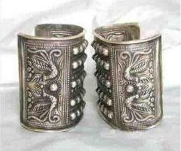 brazaletes asiáticos de plata Rebajas Jewelryr Pearl Bracelet Asian China Handcrafted Superb Jewelry flower tallado phoenix tibetan miao silver two pulsera Bangle Envío gratis
