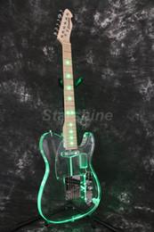 acryl körper gitarren Rabatt Starshine Gitarre DK-TLG Acryl Body GreenLED Lichtfarbe Kristall E-Gitarre Bünde Licht Gitarre
