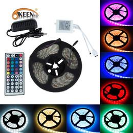 2019 el wire néon bleu 5050 SMD RGB LED Light Strip 5m 10M 12v LEDs bande LED diode étanche flexible 44 contrôleur contrôleur 12V adaptateur