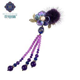 Perlen reben online-Ethnische handgemachte Hairball Lampwork Blume Goldene Rebe und Blume Quaste Brosche Perlenketten Quaste Anhänger Brosche XZ-18107