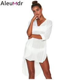 5e6562f7d5 Aleumdr Women Kaftan Beach Dress Long Shirts Pareos Sarongs 2019 Blue White  Megan Cover-Up Tunic Swimsuit Robe De Plage LC420087