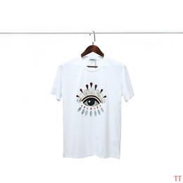 Frauen schwarze hemdstickerei online-19SS Womens Designer T Shirts Klassische Tiger Kopf Perle Stück Stickerei Nähen Eye Printing New Trend Baumwolle Schwarz Weiß Designer Shirt