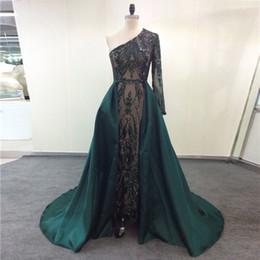 vestido de baile desmontable um ombro Desconto Luxo Verde Escuro Vestidos de Noite 2019 Um Ombro Zuhair Murad Vestidos Sereia Lantejoulas Prom Vestido Com Trem Destacável Custom Made