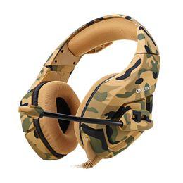 Canada ONIKUMA K1 Stéréo Gaming Headset 2.2 m Câble Camouflage Apparence Basse Casque Sur-l'oreille avec Micro pour Jeu D'ordinateur cheap ear cable Offre