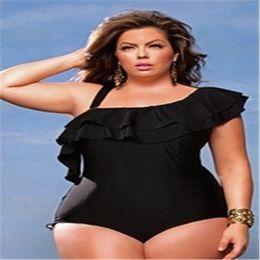 c64e76a67b8e2 Plus Size Ruffles Bikini Swimwear for Women Beachwear 2019 Sexy Single  Shoulder Swim Wear One Piece Bathing Suit Lady Black Red Swimsuit 4XL