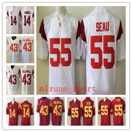 dee845496 NCAA USC Trojans  14 Sam Darnold 43 Troy Polamalu 32 OJ Simpson 55 Junior  Seau 5 Reggie Bush Red White Stitched football Jerseys