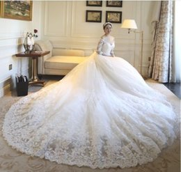simple beautiful shirt Coupons - Wedding dresses lace 3 4 sleeve hot selling skirts lace print crystal V neck beautiful long tail modern wedding dress De Mariee Plus