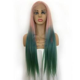 Ombre цвет волос синий зеленый онлайн-Полный парик шнурка человека с волосами младенца предварительно сорвал бразильский Реми волосы Ombre цвет розовый / синий / зеленый Парик фронта шнурка человеческих волос