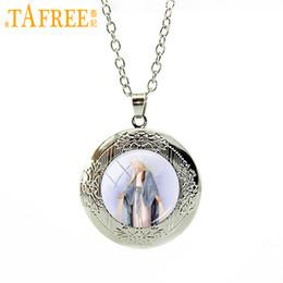 Medallón religioso online-TAFREE Nueva venta caliente de la manera collar medallón plateado Virgen María Religiosa Católica Vidrio Bisel Colgante regalo de la joyería VM35