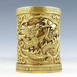 латунные драконы Скидка Китайская латунь ручной работы прекрасный дракон ручка контейнер статуя