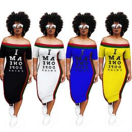52d6a468dadd5 lettre impression sexy robe crayon midi dame col ras du cou manches courtes  t-shirt décontracté robe été côté rayé bandage robes