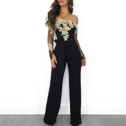 Ceinture de combinaison en Ligne-2019 printemps femmes mode élégant noir Casual cocktail barboteuse ceinturée dames fleur broderie hors épaule jambe large jumpsuit