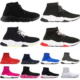 lace socks women ankle Coupons - Cheap New designer sock shoes speed casual shoe ankle boot Lace-up Triple Black White Fashion women mens platform Sports Trainers Sneakers