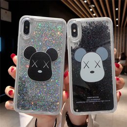 ursos divertidos Desconto Moda bonito urso divertido glitter star quicksand líquido phone back case capa para iphone 7 6 6 splus xsmax xr xs x case covers
