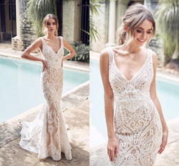 satin pleats wedding dress Coupons - 2019 Champagne Mermaid Wedding Dress Sexy Lace Bohemian Beach Boho V Neck Bohemian Bridal Gown Custom Made