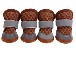 Deutschland 10Sets Wholesales Sommer-Hundeschuhe mit zwei reflektierenden Befestigungsriemen und robusten, rutschfesten Sohlen-Hundeschuhen Bunte Haustier-weiche Schuhe cheap wholesales slips for boots Versorgung
