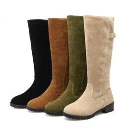 platform thick high heel gold shoes Promo Codes - Winter Female Flock Snow Boots Thick Heel Knee High Boots Women Platform Warm Women Shoes Black Green Brown Rider Shoes