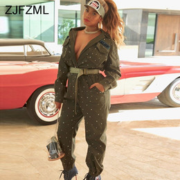 88d2d78f8d7 Beaded Embellish Sexy Rompers Womens Jumpsuit Turn Down Collar Long Sleeve  Club Bodysuit Casual Army Green Pocket Party Overall