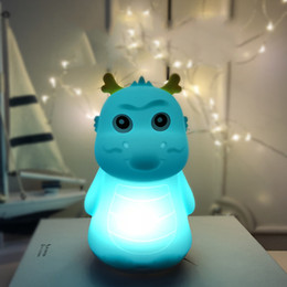 USB Pat Touch LED Cartoon Children Night Light Colorful Silicone Touch nachtlampje Table Desk Lamps Dragon Horse Chick Cat Animal veilleuse