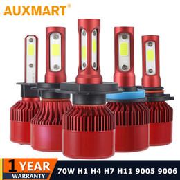 2019 lâmpadas de luzes led vermelhas Auxmart 70W 7000LM H4 H7 H11 H1 Carro LED Lâmpadas de nevoeiro COB Chips 9005 9006 H3 Auto LED Lâmpadas de farol 6500K 4300K 12V 24V Vermelho desconto lâmpadas de luzes led vermelhas