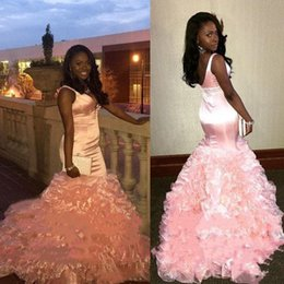 a7e9eb245545 ... Prom Dresses New 2019 Ruffles Organza Tiered Sexy Straps Deep V Neck  Long Special Evening Dress Plus Size discount two piece dresses short prom  girl
