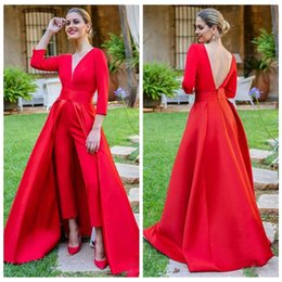 Спортивный комбинезон онлайн-Красный Пром комбинезоны вечерние платья 2019 со съемным поезд атласная V шеи спинки 3/4 с длинным рукавом vestidos de fiesta Party коктейльное платье